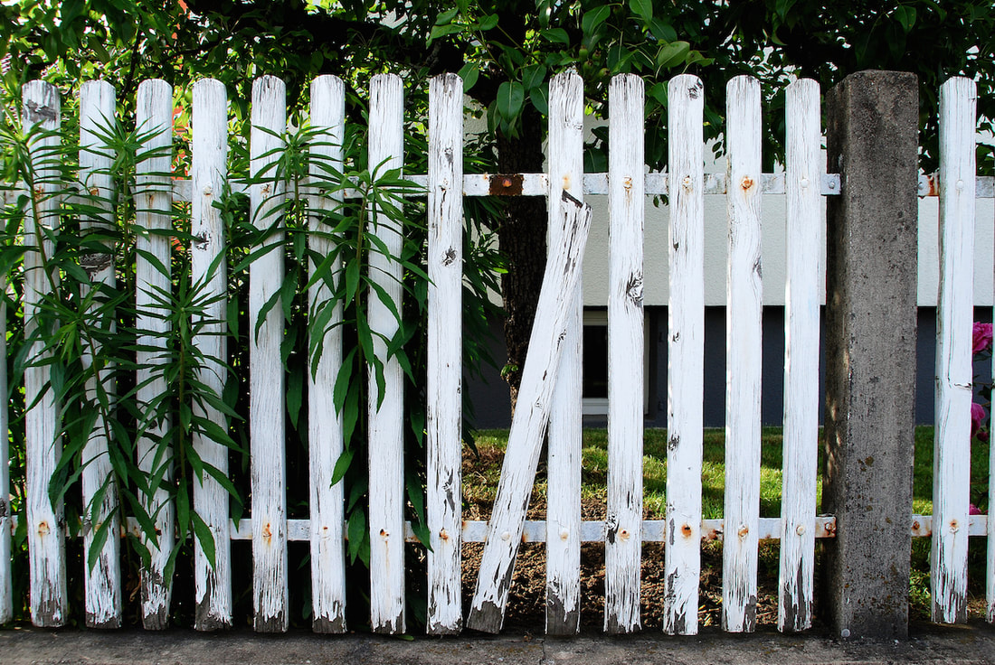 broken white picket fence - carnelian property management newcastle