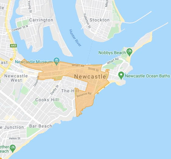 Newcastle suburb map - carnelian property management newcastle